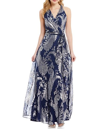 Halter Printed Maxi Dress leslie fay printed halter maxi dress dillards