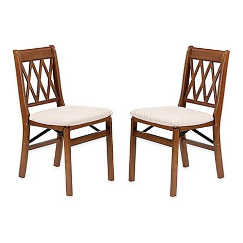 Folding Dining Chairs Wood Stakmore Lattice Back Wood Folding Chairs Set Of 2 Bed Bath Beyond