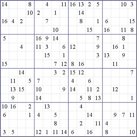 printable 16 number sudoku free printable 16x16 sudoku puzzles pictures