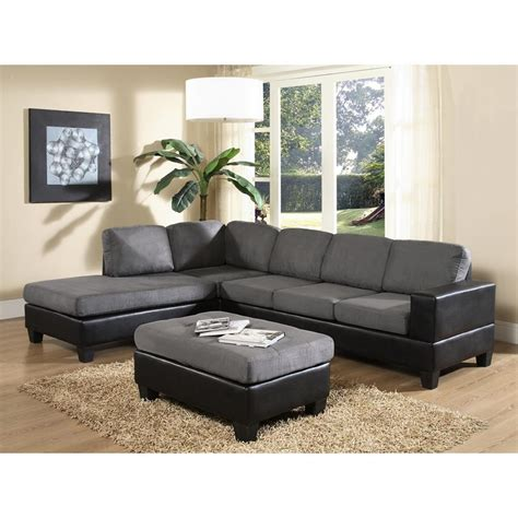 Gray Microfiber Sectional Venetian Worldwide Dallin Gray Microfiber Sectional