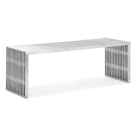 modern metal bench novel brushed stainless steel bench zuri furniture