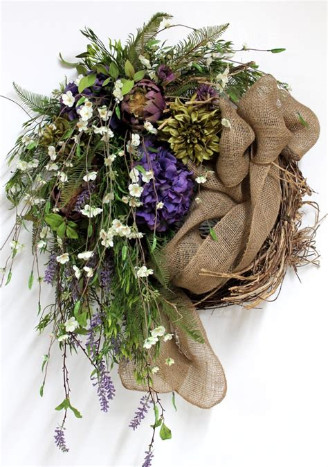 Country Wreaths For Front Door Country Wreath Front Door Wreath Burlap Wreath Wildflowers
