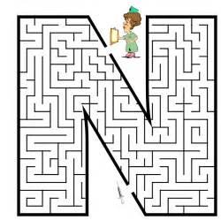 free printable maze for uppercase letter n