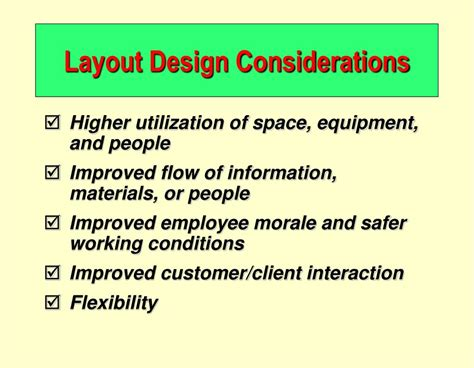 Considerations In Layout Design | ppt operations management chapter 9 layout strategy