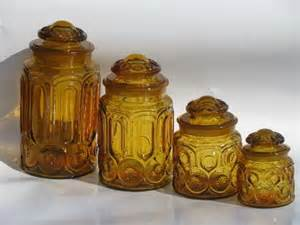 Decorative Kitchen Canisters Sets vintage canister jars set moon and stars pattern amber