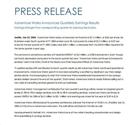 Press Release Template 29 Free Word Excel Pdf Format Download Free Premium Templates Press Release Template
