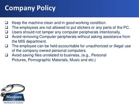 employee computer use policy template ict laptop and desktop policy
