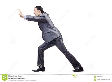 Is Pushing by Businessman Pushing Obstacles Stock Photography