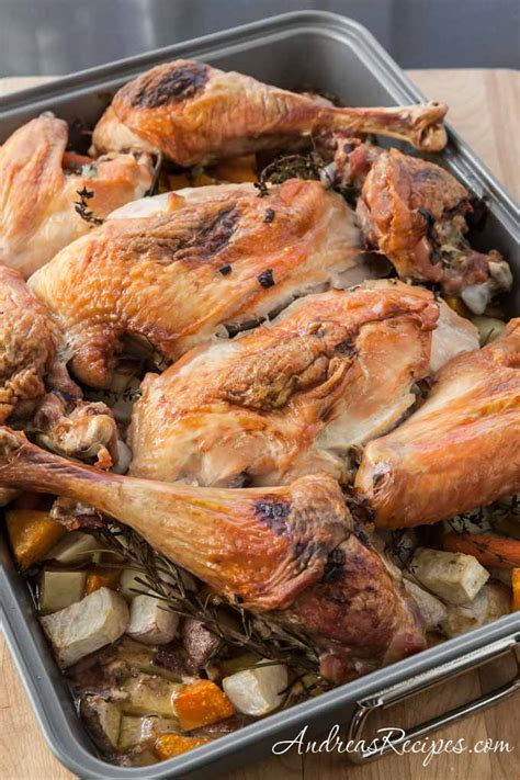 roasted root vegetables thanksgiving roast turkey recipe with root vegetables and gravy