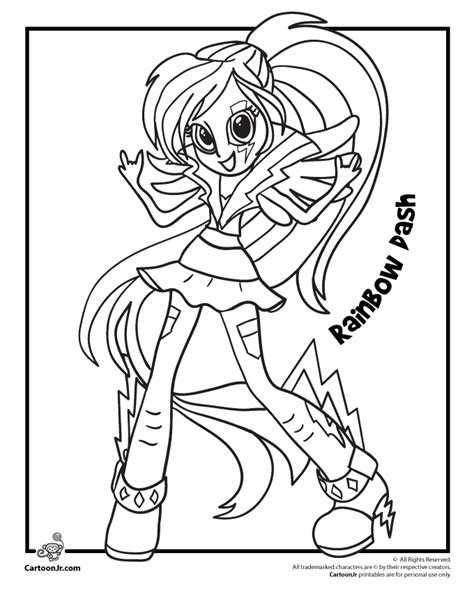 rainbow dash dress coloring page my little pony rainbow dash from equestria girls woo jr