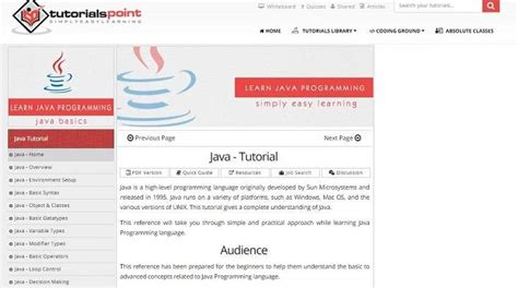tutorialspoint online top free online java tutorials