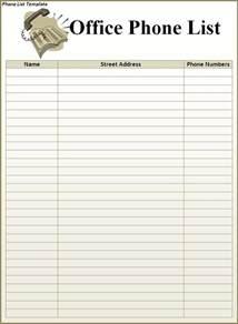 Phone List Template Free phone list template best word templates