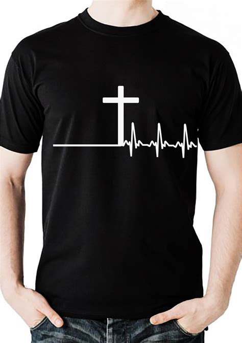 Design T Shirt Christian | men s christian tshirt with cross and heartbeat design