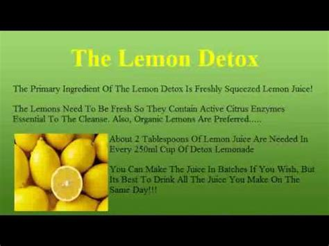 How To Prepare For The Lemon Detox Diet by The Lemon Detox Diet How To Make The Lemonade