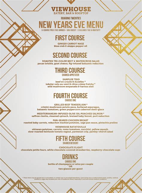 new year menu package roaring 20 s new year s 2017 viewhouse
