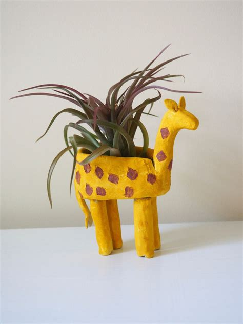 giraffe planter clay giraffe planter diy with kids in mind