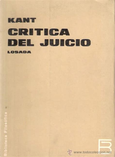 libro critica del juicio cr 237 tica del juicio kant losada 1968 2 170 e comprar