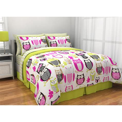 owl bedding set latitude sketchy owl reversible bed in a bag walmart
