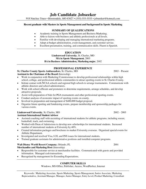 sle sports resume sports management resume sles