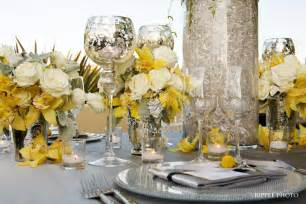 yellow and gray centerpieces platinum touch events color crush yellow gray