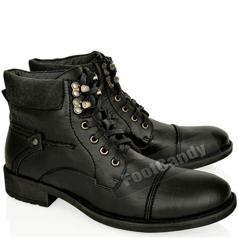 Mens Leather Army Military Biker Combat Lace Up Low Heel