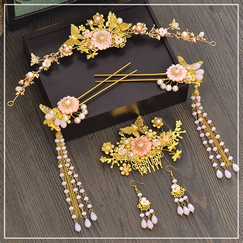 chinese jewelry pink flower gold coronet hair pins comb