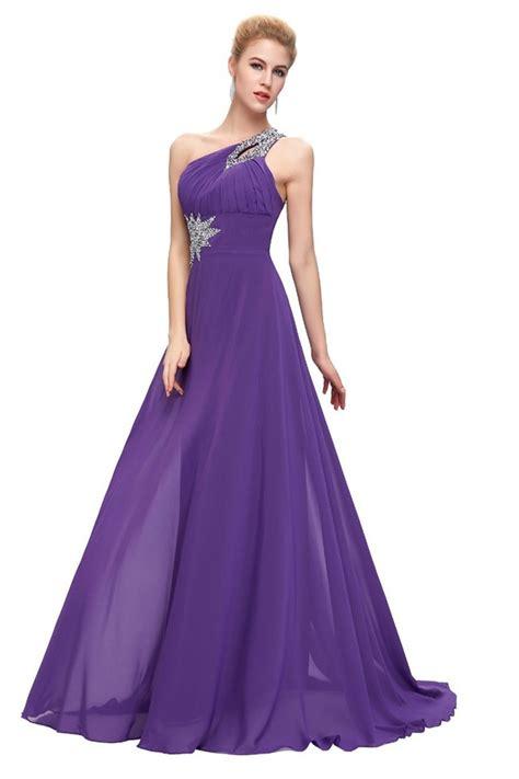 a line one shoulder corset purple chiffon beaded prom dress