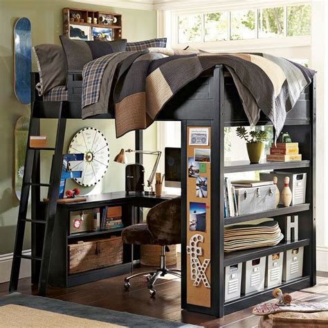 Futon For Boys Room Skateboard Themed Bunk Bed With Workspace Boys Room Interior Design Ideas