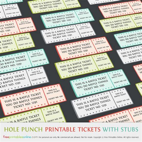printable event tickets hole punch free printable raffle tickets with stubs free