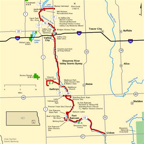 Americas Byways by Sheyenne River Valley Scenic Byway Map America S Byways