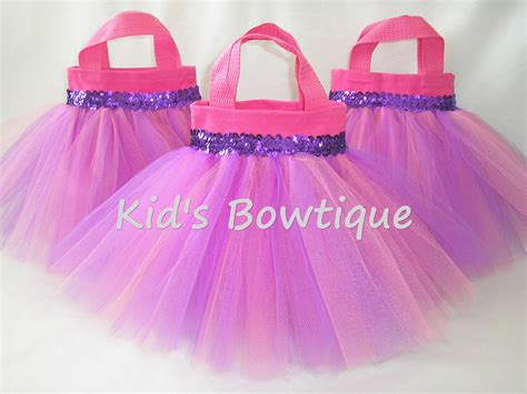 pink and lavender baby birthday favor tutu bags