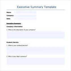 Executive Summary Template by Sle Executive Summary Template 7 Free Documents In