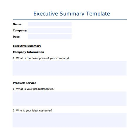 executive summary template sle executive summary template 7 free documents in