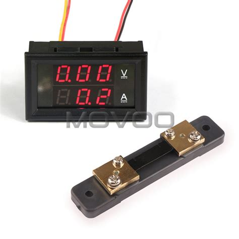 shunt resistor voltmeter 2in1 voltage current monitor meter dc 0 100v 50a led digital voltmeter ammeter shunt