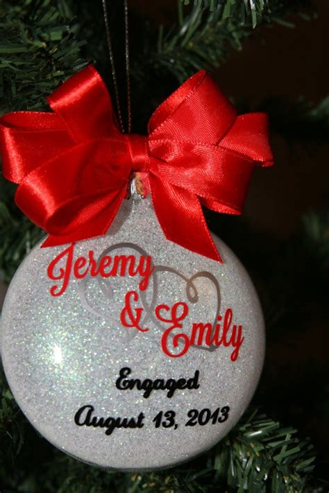 personalized glittered christmas tree ornament