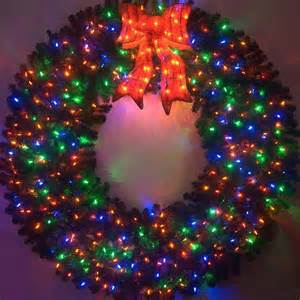 Outdoor Christmas Decorations Battery Operated - 6 foot color changing l e d prelit christmas wreath artificialchristmaswreaths com multi