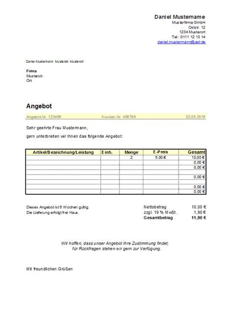 Angebot Muster Excel charmant angebot umschlag vorlage fotos entry level