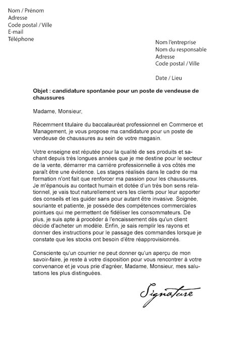 Exemple Lettre De Motivation Vendeuse Sans Experience 10 Lettre De Motivation Candidature Spontan 233 E Vendeuse