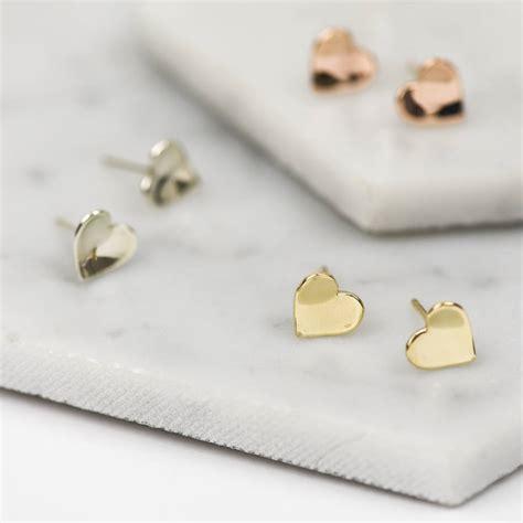 Handmade Stud Earrings - handmade solid gold concave stud earrings by ruby