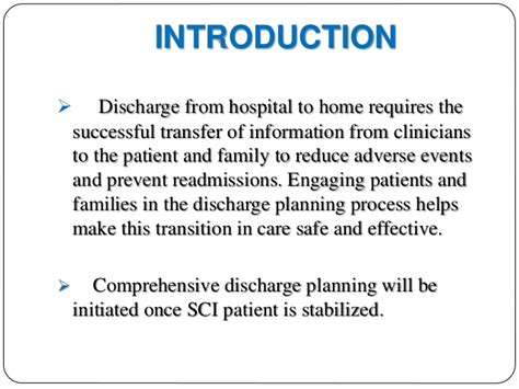 discharge planning from hospital to home hospital discharge planning for spinal cord injured patients