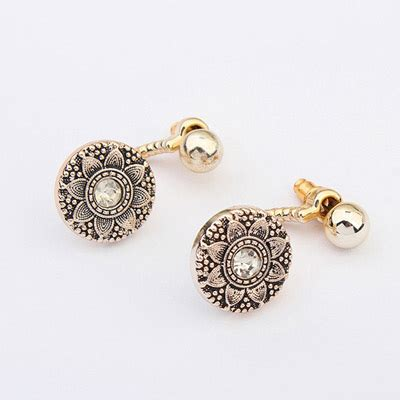 preferential bronze flower pattern decorated simple design plastic korean earrings asujewelry