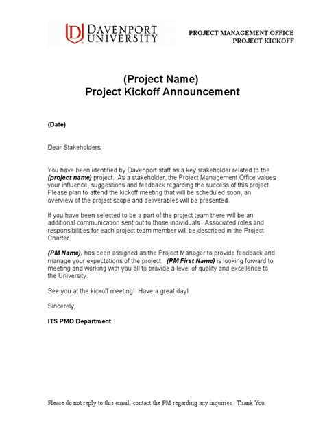 PMO Project Kickoff Announcement Template.doc