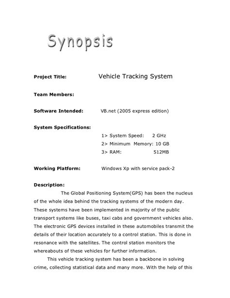 format of novel synopsis academic project vehicle tracking g d system synopsis