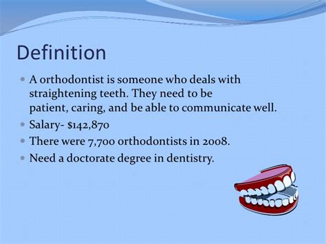 Description Of An Orthodontist by Orthodontist Powerpoint