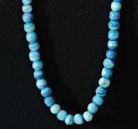 blue lace agate single strand opera length necklace