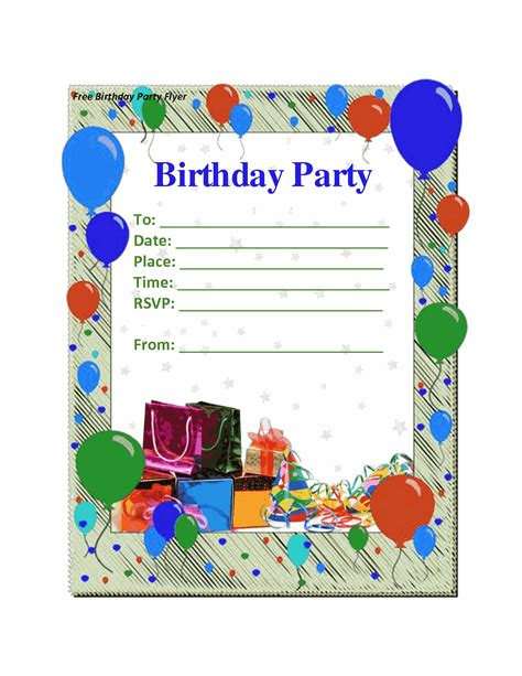 birthday party invitation card template vertabox com