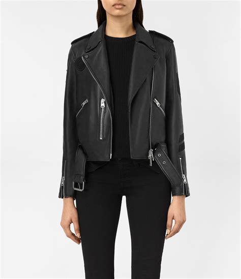 Allsaints Balfern Biker Jacket lyst allsaints balfern leather biker jacket in black