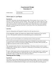design controlled experiment worksheet experimental design worksheet 2 experimental design