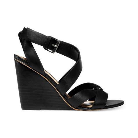 steve madden sandals black steven by steve madden marria wedge sandals in black lyst