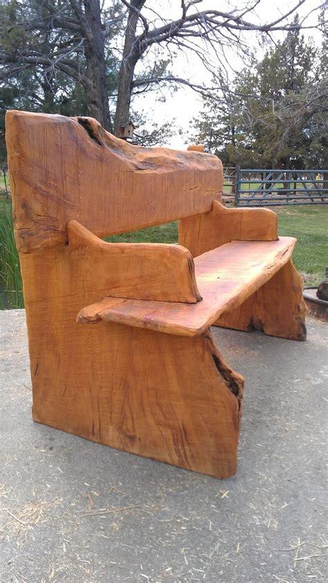 childs or garden bench cedar log pecan legs by jamesrobinson hand made live edge bench by juniper canyon design